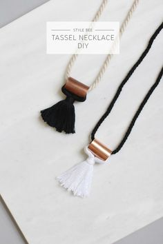 DIY Hardware Store Tassel Necklace Tutorial from Style Bee.All you need to make this DIY Hardware Store Tassel Necklace is some cord, thread and… Diy Tassel, Tassel Jewelry, Tassel Necklace, Tassels, Jewelery, Necklace Ideas, Pearl Necklace, Bee Necklace, Necklace Holder