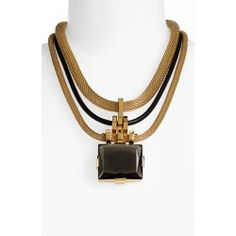 Vince Camuto 'Tour of Duty' Multistrand Pendant Necklace. Leather and mesh-chain strands suspend a chunky