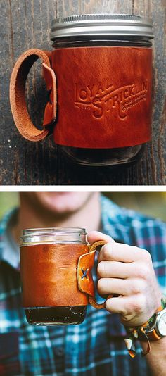 Leather Mason Jar Mug