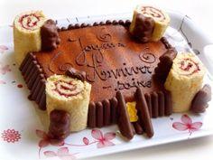 Gâteau-château, tours en roulé