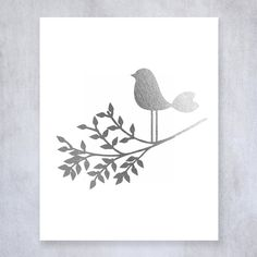 Bird on a Branch Silver Foil Print Wall Art Nursery Poster Girl Room Decor Little Birdie Metallic Poster 8 inches x 10 inches A30. Digibuddha(TM) real foil art prints are made by hand in our small shop just outside of Philadelphia. • Made with gorgeous luxe silver foil and premium pure white matte card stock. • Prints arrive unmatted, ready to be placed in your favorite frame. • Original design: all Digibuddha(TM) paper goods are exclusively created in-house by our design team. /// Bird on…
