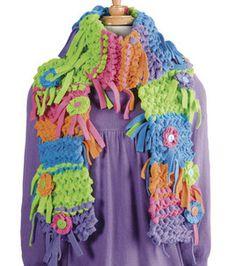 Knitted Fleece Scarf - pattern and supplies Fleece Crafts, Fleece Projects, Knitting Projects, Sewing Projects, Art Projects, Fleece Scarf, Fleece Fabric, Crochet Needles, Knit Crochet