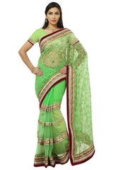 Green Color Half Net & Half Georgette Festival & Function Wear Sarees : Tarjani Collection  YF-41471