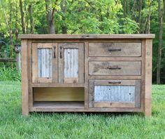 "Rustic Vanity (48"") - Reclaimed Barn Wood w/Barn Tin by Keeriah on Etsy https://www.etsy.com/listing/191384336/rustic-vanity-48-reclaimed-barn-wood"