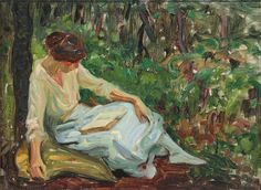 Ivanowsky, Sigismund (American, 1875-1944) - Woman Reading - s.d. (by *Huismus)