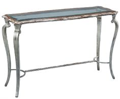 Console Table Iron Walnut Bevel Glass top Handmade New Free ship