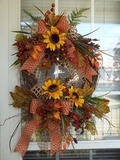 """""""AUTUMN SUNFLOWERS"""" - Late Summer-Fall-Thanksgiving Anytime Wreath Decoration… by sheree Fall Wreaths, Mesh Wreaths, Etsy Free Shipping, Autumn Summer, Late Summer, Sunflower Wreaths, Fall Crafts, Grapevine Wreath, Grape Vines"""