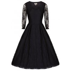 'Lisette' Black Lace Long Sleeve Evening Dress