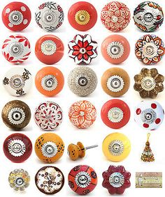Brighten up your cupboards and drawers with these stylish ceramic knobs. A selection of red, brown and gold ceramic drawer pulls by Knobbles and Bobbles. Cupboard Door Knobs, Brown Kitchens, Ceramic Knobs, Furniture Hardware, China Porcelain, Campervan, Drawer Pulls, Hooks, Cycling
