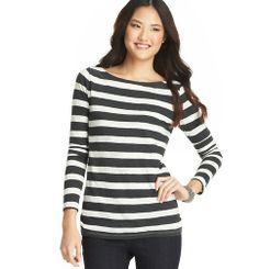 Striped Cotton Long Sleeve Boatneck Tee | Loft