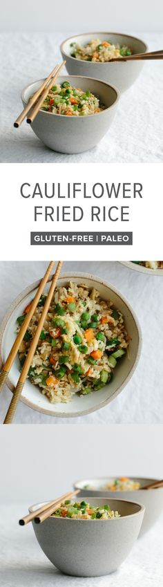 (gluten-free, paleo) Cauliflower fried rice is a healthier alternative to the much loved Chinese stir fry favorite.