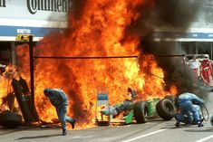 Benetton Pit Fire -It was a bad weekend for the Benetton team. Jos Verstappen came into the pits; while refuelling, some fuel was accidentally sprayed onto the hot bodywork of the car, a few seconds later the fuel ignited and Verstappen's car was engulfed in a ball of flames. The Dutchman escaped the incident with burns around his eyes, as he had his visor up during the pit stop. No other crew-members or any persons were injured severely or killed - 1994 German Grand Prix, Hockenheimring