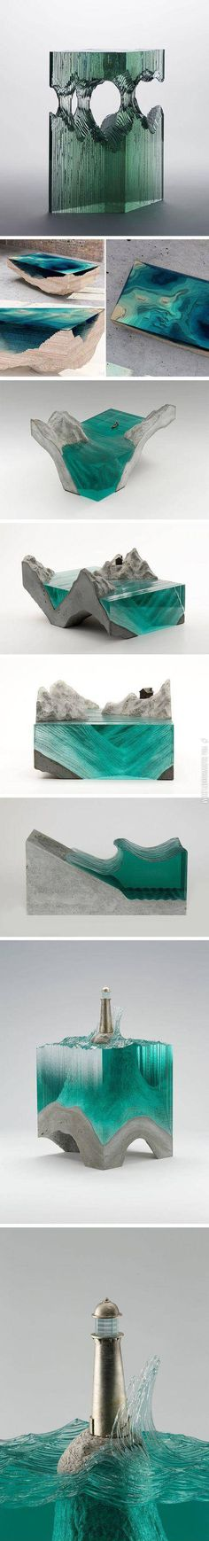Amazing glass layered sculptures