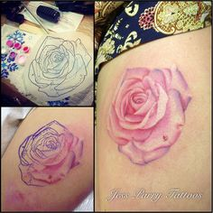 Realistic pink rose by Jess Parry Tattoos
