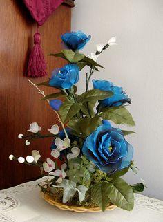 Handmade Vibrant Blue  small Cream White Flowers by LiYunFlora, $35.00