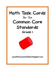 $2.50 Common Core Standards Math Task Cards: Grade 1 - Covers all Common Core math standards