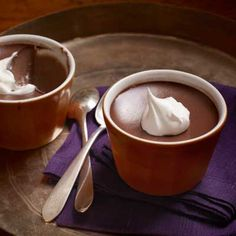 Mocha Pots de Créme Recipe -   Rich and spiked with the intense flavor of espresso, these little chocolate pots are a creamy delight