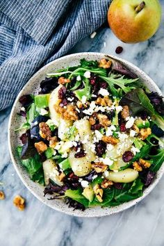 Candied Walnut and Pear Salad with a Lemon Poppyseed Dressing . A delicious and simple to salad with fresh sliced pears, avocado, cranberries and feta cheese. Drizzled with a lemon poppyseed dressing . Easy Summer Salads, Summer Salad Recipes, Salad Recipes For Dinner, Easy Salads, Healthy Salad Recipes, Eat Healthy, Savory Salads, Healthy Lunches, Lunch Recipes