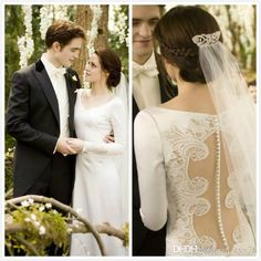 Hollow Vintage 2015 Wedding Dresses Covered Button Twilight Bella Same Style Lace Applique With Long Sleeve Bridal Ball Gown Custom Made