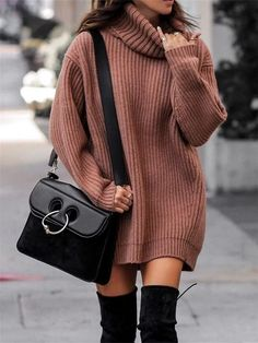 Black thigh high boots outfit with camel oversized sweater and JW Anderson Pierce bag. Image ©️️LolarioStyle Black thigh high boots outfit with camel oversized sweater and JW Anderson Pierce bag. Casual Winter Outfits, Winter Fashion Outfits, Look Fashion, Stylish Outfits, Fall Outfits, Winter Dresses, Fashion Clothes, Autumn Casual, Fashion Women