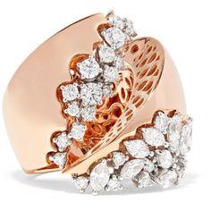 YEPREM 18-karat rose gold diamond ring (74 695 SEK) ❤ liked on Polyvore featuring jewelry, rings, 18 karat diamond ring, 18 karat gold ring, 18k rose gold ring, rose gold diamond jewelry and 18k jewelry