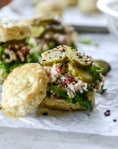 pimento cheese chicken salad on honey butter biscuits I howsweeteats.com
