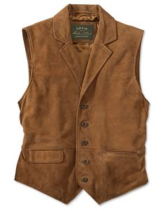 Refined looks blend with Western flavor to create a vest that works under a sport coat or on its own paired with a crisp Oxford and your favorite blue jeans. Tailored a bit longer than standard vests, it will cover the beltline for a neat appearance. Five-button front with two lower flap pockets, which can be inserted into the pocket welts for a sleeker look. Leather back strap with antiqued buckle slider allows a precise fit. Fully lined. In brown nubuck. Sueded goatskin nubuck leather. ...