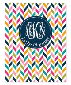 Look at this Pink & Yellow Chevron 2017 Monogram Planner on #zulily today!