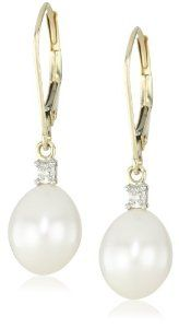 10k Yellow Gold Freshwater Cultured Pearl with Diamond-Accented Drop Earrings (10.5-11 mm