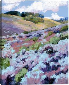 Purple Meadows I Landscape Canvas Wall Art Print by Maxine Price