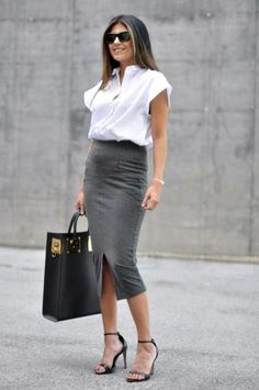 Here is Black Pencil Skirt Outfit Ideas Gallery for you. Black Pencil Skirt Outfit Ideas 55 amazing outfits with black Black Pencil Skirt Outfit, Pencil Skirt Work, Pencil Skirt Casual, Pencil Skirt Outfits, Gray Skirt, Denim Skirt, Midi Skirt, Office Fashion, Work Fashion