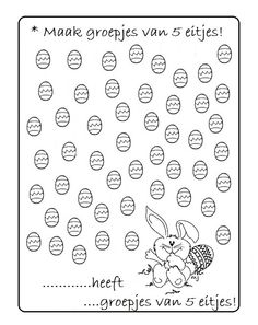 * Maak groepjes van 5 eitjes... Preschool Worksheets, Preschool Activities, Easter Activities For Kids, School Readiness, Lesson Plans, Easy Crafts, Teaching, Rabbits, Activities