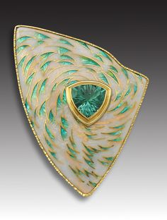 Debbie Sheezel | Triangular brooch with turquoise stone on graded BG