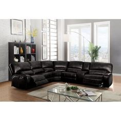 Acme 54150 6 pc Red barrel studio liska euro black leather-aire sectional sofa with power recliners. This set includes the LAF recliner with power , armless chair, corner wedge, armless chair, drink console and RAF recliner with power. Black Sectional, Leather Reclining Sectional, Sectional Sofa With Recliner, Living Room Sectional, Corner Sectional, Living Room Furniture, Armless Chair, Leather Sectionals, Sleeper Couch