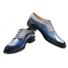 Jacopo Ridolfi hadmade leather oxford shoes blue and gray suede Italy