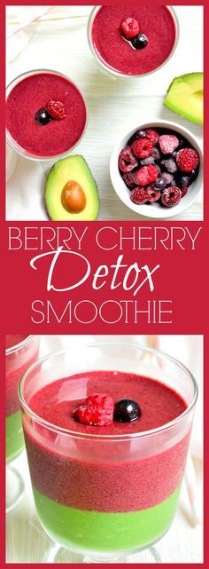 Delicious Berry Cherry Green Detox Smoothie for juice cleanse via @WhittyPaleo