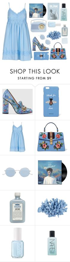 """Blue 2/3"" by seetheotheroceans ❤ liked on Polyvore featuring Gucci, Topshop, Oliver Peoples, John Allan's, INC International Concepts, Essie, NARS Cosmetics and Blink"
