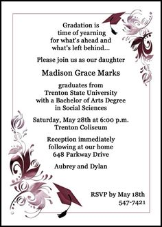 find lots of free GED commencement ceremony announcement invitation