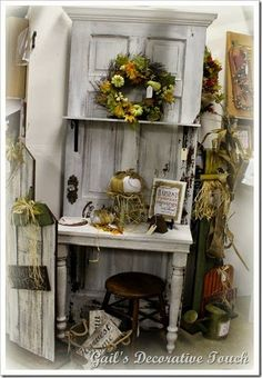 repurpose an old door into a potting bench. I have seen this done with old scree… repurpose an old door into a potting bench. I have seen this done with old screen doors too. Repurposed Furniture, Painted Furniture, Diy Furniture, Repurposed Doors, Vintage Furniture, Recycled Door, Salvaged Doors, Furniture Design, Furniture Chairs