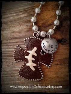 Football cross necklace football football mom by mygoodie2shoes, $46.00