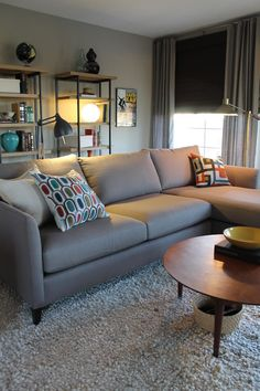 Bewitching Gray Sectional Sofa for Small Contemporary Studio: Mid Century Living Room Idea Involving Light Gray Sectional Sofa Beautified Wi...