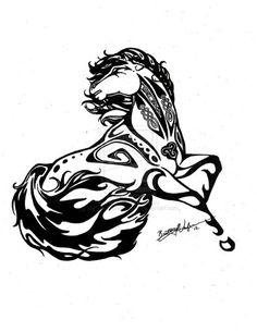 Tribal Celtic horse tattoo