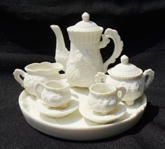 VINTAGE Miniature Tea Set With Rose Design by disNdatVINTAGE, $25.00