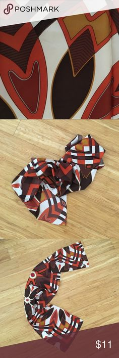 "Silk scarf great orange brown white geometric mod! Awesome silk scarf - great retro colors ! Browns orange and white, approx 52 x10 "" , beautiful condition with no flaws vintage? Accessories Scarves & Wraps"