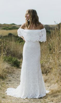 """The """"Laurence"""" features an eyelash lace off the shoulder wedding gown. It speaks our bohemian brides on the hunt for a more classic lace. Hidden ivory"""