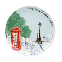"""London is calling!"""" Answer the call with this beautiful placement print plate from our London collection. Made from porcelain, it makes a great gift or souvenir - why not collect all five plates in the range? Wooden Fruit Bowl, Carved Wooden Bowl, Wooden Bowls, Cath Kidston London, London Icons, Cat Cushion, London Calling, Dog Design, Making Out"""