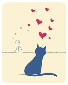 Illustration with cats in love. Saint Valentine's gift on Etsy, 10,00 €