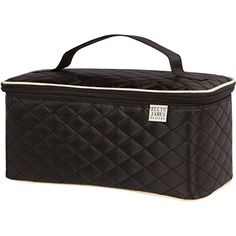 Ellis James Designs Large Quilted Travel Cosmetic Case Makeup Train Case Bag Toiletry Organizer with Handle and Makeup Brush Holders (Black) - Multifunctional for Professional Hair and Beauty Storage