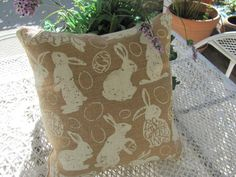 Plump Easter Bunny Burlap Pillow Happy Easter by THISPLUSTHAT