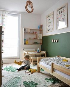 25 Best Kids Bedroom Ideas for Small Rooms You Should Try Now I love this lovely little kids room - great rug - Lorena Canals rugs. The colour blocked walls and the posters up high created space and interest without clutter the kids eye level. Kids Bedroom Boys, Small Room Bedroom, Small Rooms, Boy Toddler Bedroom, Boys Bedroom Ideas Toddler Small, Room For Two Kids, Kids Bedroom Ideas, Ikea Toddler Bed, Montessori Toddler Bedroom